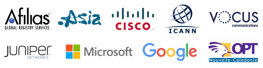 Afilias; Dot.Asia; Cisco; ICANN; Vocus communications; Juniper Networks; Microsoft; Google; OPT